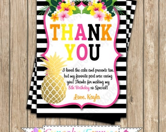 Pineapple, Tropical, Thank You Card, PRINTABLE, Hawaiian, party, gold pineapple, luau, 5x7 4x6  DIY girls first birthday