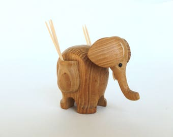 Wooden Elephant Toothpick Holder Danish Modern Style
