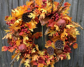 Fall Wreaths, Autumn Feathers and Pomegranate Wreath, Fall Oak Leaves Wreath, Hunter Fruit Fall Wreath, Harvest Decor, Harvest Door Wreath