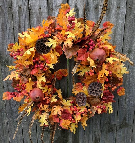 Fall Wreaths, Autumn Feathers and Pomegranate Wreath, Fall Oak Leaves Wreath, Hunter Fruit Fall Wreath, Harvest Decor, Harvest Door Wreath