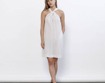 Big Summer Sale Tie Neck Dress, Ivory Summer dress,