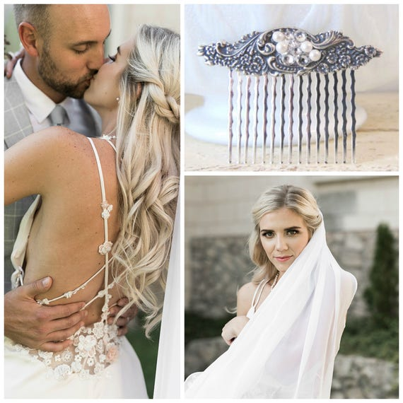Crystal Hair Comb, Scrolling, Floral Hair Comb, Blossoms, Silver Ox Brass, Silver Hair Comb, Silver Flower, Swarovski Crystals JULIET