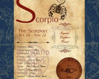 SCORPIO ZODIAC, Digital Download, Astrology, Print, Constellation, Horoscope,   Book of Shadows Page, Wicca, BOS, Grimoire,