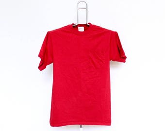 Vintage Plain Red Pocket T Shirt Mens Small Unisex Womens 80s 90s Soft Thin Solid Cotton