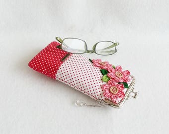 Beautiful Red, Glasses Case, Eyeglass Case, Spectacle Case, Metal Frame Purse
