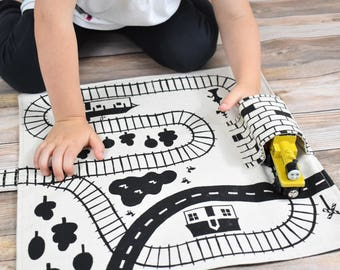 Train Playmat, Organic Train Play Mat, Train Track, Train Storage, Travel Train Mat, Imaginative Play, Boys Birthday Gift, Toddler Train Mat