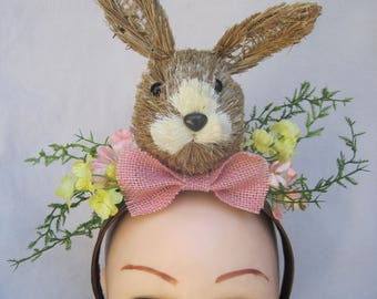 Bunny Head with Bow Tie and Spring Flowers