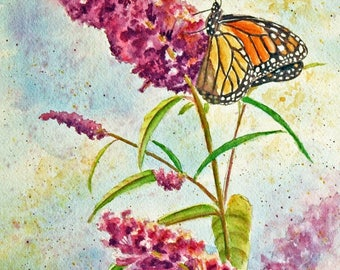 """Butterfly Original Watercolor Painting, Monarch Butterfly, Violet Flowers, Butterfly Bush, Botanical, matted to 12"""" x 16"""""""