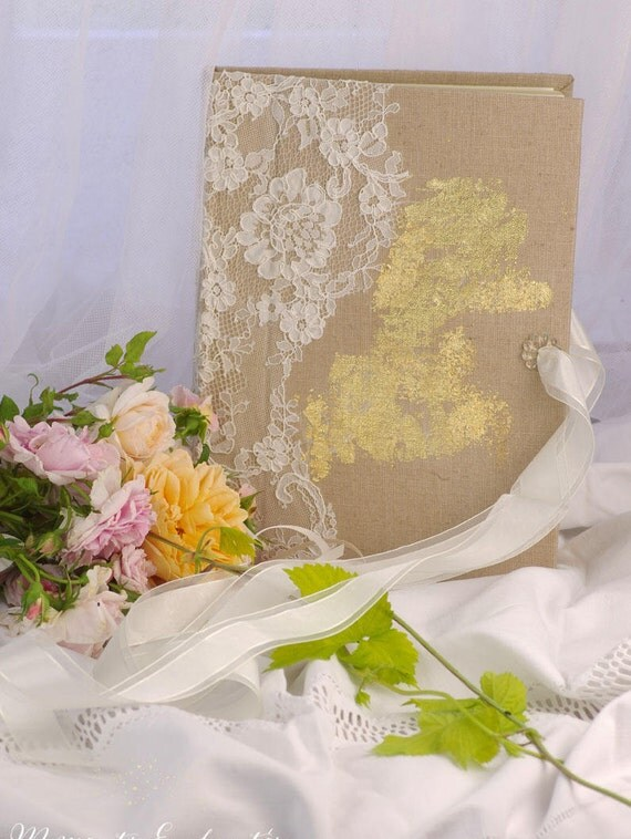 "Guest book ""Nuage de Dentelle"" lace from Le Pas de Calais french lace  with your name Personalized linen and gold"