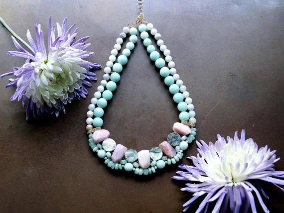 Chunky pastel blue & pink gemstone necklace