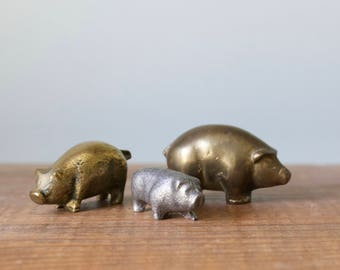 Trio of Vintage Brass Miniature Pig Figurines | 3 Solid Brass Pigs | Three Little Pigs