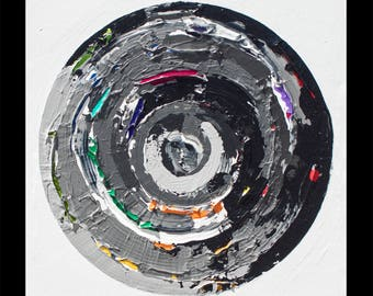 Mirror 1, Large organic grayscale gray tone black and white circle abstract painting, NYC gallery art