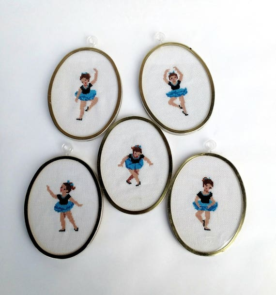 Set of 5 Vintage Ballet Dancer Framed Cross Stitch Embroideries