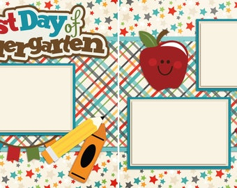 First Day of Kindergarten - Digital Scrapbooking  Quick Pages - INSTANT DOWNLOAD