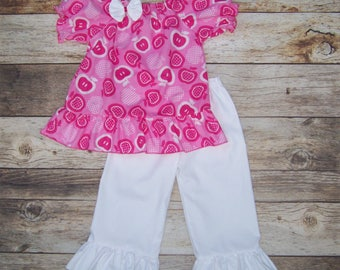 Apple Ruffle Outfit / Shirt + Pants / Pink & White / Fall / Back to School / Birthday / Newborn / Infant / Baby / Girl / Toddler / Boutique