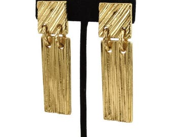 YSL Vintage YVES Saint LAURENT France Long Dangle Earrings Signed Authentic