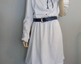Vintage 70s Secretary Dress Tie Bow Polka dots Ruffled babydoll Mini Dress XL