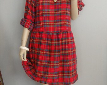 1990s Babydoll Red Plaid  Dress 90s Grunge Dress Tarten Plaid Mini Dress M L