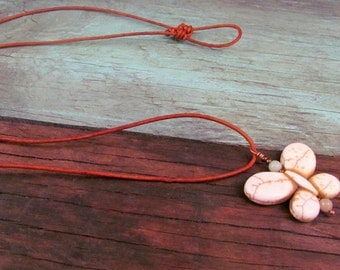 Boho Chic Leather Butterfly Necklace, Natural White, Adjustable, Rustic Bohemian Jewelry
