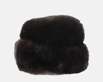 Brown ASTRAKHAN Faux Fur RUSSIAN Hat Vtg 60s Ushanka Goth Witchy Mystic Victorian Minimal Bucket Warm Winter Pillbox Persian Cap - Large
