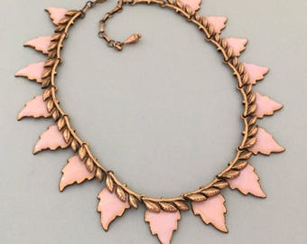 MATISSE Copper Leaf Necklace - Matisse Enamel Leaf Collar Necklace - Pink Enamel Necklace - Matisse Copper Jewelry Necklace Gift for Wife
