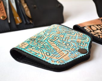 Hand Painted Leather Wallet Card Holder Coin Purse, Girlfriend Gift, Wife Gift, Womens Leather Wallet, Unique gift for her