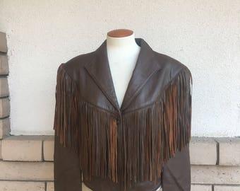 Vintage 80s Fringed Leather Jacket Rocker Brown Cropped Jacket Size Large