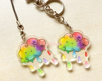 Rainbow Keychain, Rainbow Cloud Keychain, Cloud Keyring, Kawaii Phone Charm, LGBT Keychain, LGBT Pride Gift, Phone Accessory, Christmas Gift