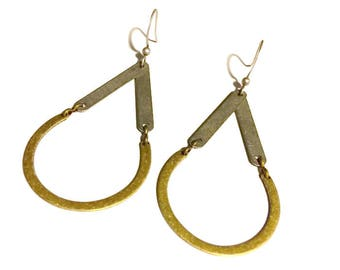 Silver and Brass Drop Shape Earrings