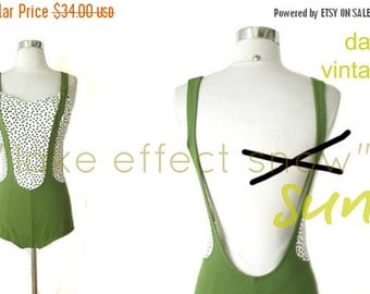 CLEARANCE SALE RESERVED suspender chic | vintage 60s swimsuit | moss polka dot | s/m