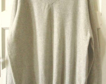 Men's Lands End Gray Cashmere Sweater, XL