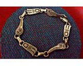 "Sterling silver Native American bracelet bear paw thunderbird northwest 7"""