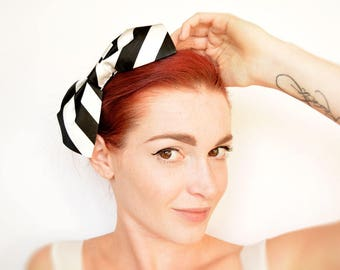 Black and white striped bow headband - silk