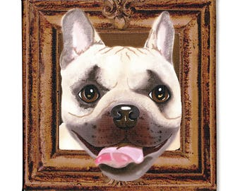 "French Bulldog Art Print on Canvas - Brown and Beige - French Bulldog Art - Frenchie in a Frame - 8"" x 8"""