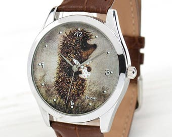 Hedgehog Watch   Mens Watch   Women Watches   Hedgehog in the Fog   Funny Gifts Friends   Mens Gift   Birthday Gift for Him   FREE SHIPPING