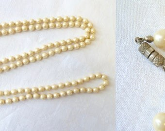 Vintage 1930s 40s Faux Pearl Extra Long Strand Necklace, Knotted Pearl Bead Necklace, Flapper, Art Deco Dress Up or Down Jewellery