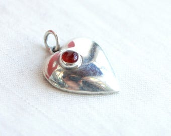 Mexican Heart Pendant Red Carnelian Stone Vintage Simple Sterling Silver Charm Necklace Love Gift for Her