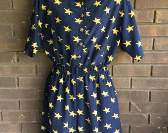 High Waisted Shorts Romper Playsuit 90s Nautical Military Navy Blue Jumpsuit One Piece Vintage 1990s Patriotic Stars Button Up  / Small
