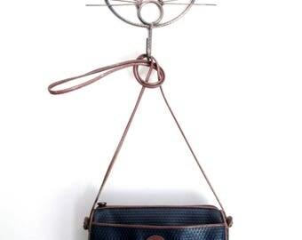 crossbody bag, long strap purse, mini shoulder bag, navy blue faux leather, vintage 80s, Liz Claiborne