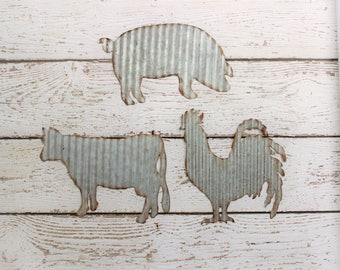 Galvanized Rooster, Metal Pig, Galvanized Cow, Farm Decor, Metal Wall Decor, Rustic Decor, Shabby Chic, Farmhouse Style, Fixer Upper Style