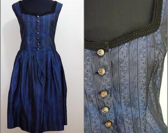 Bohemian VINTAGE 1960's Bavarian DIRNDL Midnight Blue Shimmer Button Front Folk Dress Uk 14 Fr 42 Oktoberfest / Tyrol / Austrian / German