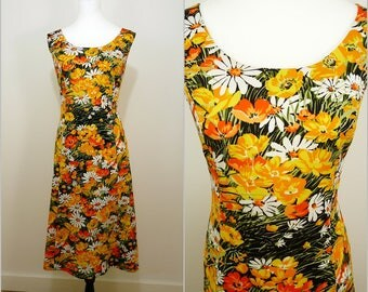 French VINTAGE 1970s Mode Parisienne Retro Bright Spring Yellow Meadow Flower Dress UK 16 FR 44 /Buttercups /Daisies / Floral