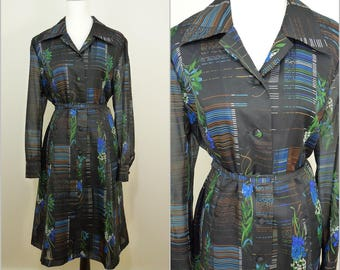 VINTAGE 1970s Funky Retro Black Deco Oriental Flower Dagger Collar Secretary Dress UK 20 FR 50 / Buckle Belt / Balloon Sleeves