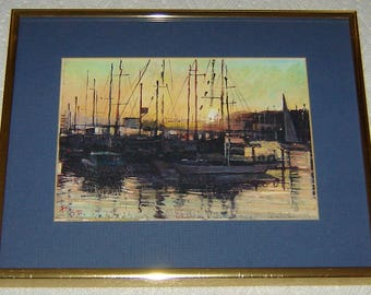 FRANK DONG Watercolor Print - Offset Litho - Framed, Matted & Signed by Artist - Depicting Sailboats at a San Francisco Seaport