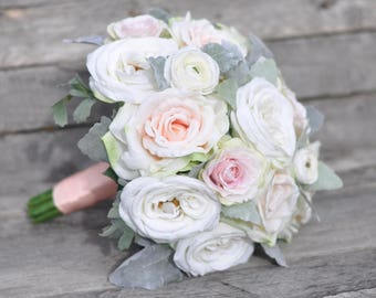 wedding bouquet blush rose apricot rose dusty miller champagne rose ranunculus
