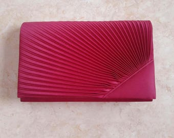 Evening Bag Red Pleated Glamorous Retro Vintage