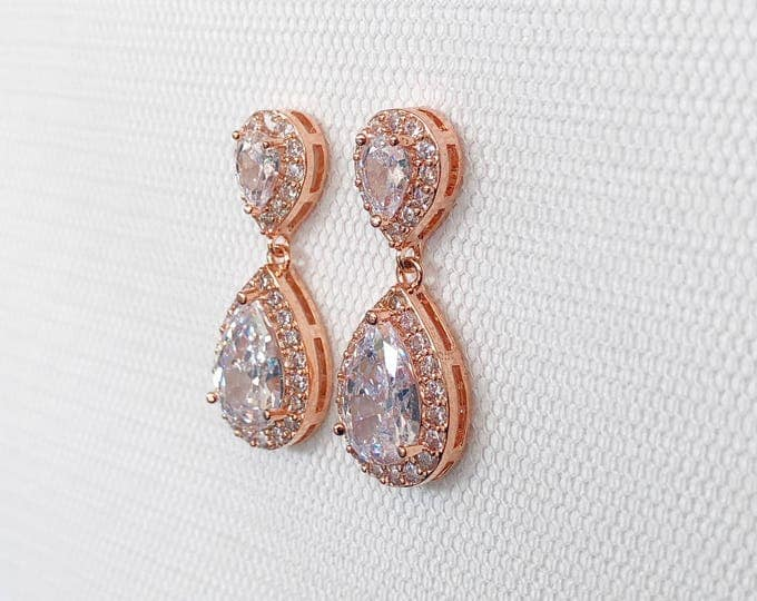 Rose Gold earrings, Wedding Earrings, Rosegold bridal earrings, bridesmaid earrings, rose gold teardrop earrings, crystal bridal earrings
