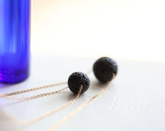 Lava Stone Necklace, Diffuser Necklace, Aromatherapy Necklace, Gold Minimalist Necklace, Single Bead Black Necklace, Black and Gold Necklace