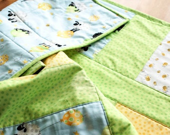 Handmade Baby Boy Quilt,  Baby Lamb Blanket, Susybee Fabric Quilt, Green Sheep Crib Bedding, Lamb Nursery Quilt