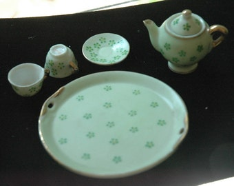 Vintage Occupied Japan Miniature Tea Set Gold Trim on Green Ground with Green Flowers - FREE SHIPPING
